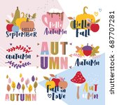 set of autumn vector... | Shutterstock .eps vector #687707281