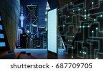 empty screen billboard with... | Shutterstock . vector #687709705
