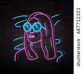 neon silhouette of a beautiful... | Shutterstock .eps vector #687712321