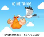 baby shower card. stork... | Shutterstock .eps vector #687712609