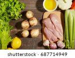 healthy diet italian lifestyle  ... | Shutterstock . vector #687714949