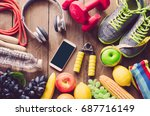 fitness concept with exercise... | Shutterstock . vector #687716149