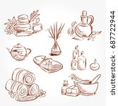 hand drawn set of spa... | Shutterstock .eps vector #687722944