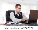 Businessman on bright background - stock photo