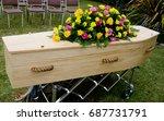 funeral casket  coffin burial ... | Shutterstock . vector #687731791