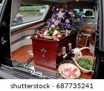 funeral casket  coffin burial ... | Shutterstock . vector #687735241