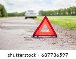 red emergency stop sign and... | Shutterstock . vector #687736597