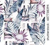 Stock photo abstract print with marble random elements and watercolor leaves flowers exotic pattern in retro 687738394