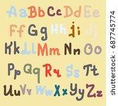 hand drawn alphabet. brush...