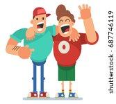 two happy best friend vector... | Shutterstock .eps vector #687746119