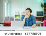 asian male university college... | Shutterstock . vector #687758905