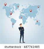 businessman with pin locations... | Shutterstock .eps vector #687761485
