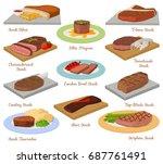 different beef steak raw meat... | Shutterstock .eps vector #687761491