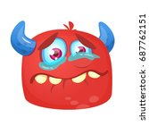 crying cartoon monster icon.... | Shutterstock .eps vector #687762151