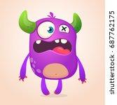 surprised cute cartoon monster... | Shutterstock .eps vector #687762175