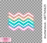 neon effect wave shapes on... | Shutterstock .eps vector #687765625