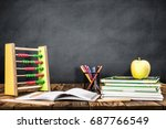 Desk Of Student, Abacus, Books and Pencils - stock photo