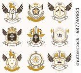 collection of vector heraldic... | Shutterstock .eps vector #687769831
