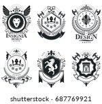 heraldic coat of arms...   Shutterstock .eps vector #687769921