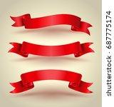 Red Ribbon Banner Set Hight...