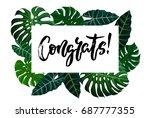 congrats hand written lettering....   Shutterstock . vector #687777355