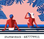 a vector retro poster with a... | Shutterstock .eps vector #687779911