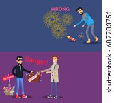 fireworks safety. danger deal... | Shutterstock . vector #687783751