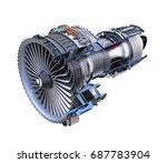 cross section of turbofan jet...