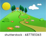 cartoon landscape with cut out... | Shutterstock .eps vector #687785365