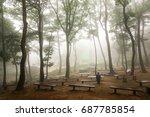 a man sitting on a wooden bench ... | Shutterstock . vector #687785854