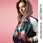 portrait of a stylish girl in a ... | Shutterstock . vector #687788674