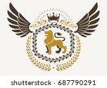 vintage winged emblem created... | Shutterstock .eps vector #687790291