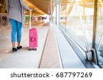 woman back walking at the...   Shutterstock . vector #687797269