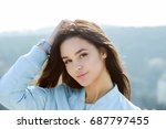 beauty and fashion. girl with... | Shutterstock . vector #687797455