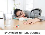 tired unhappy office worker... | Shutterstock . vector #687800881