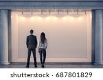 back view of man and woman... | Shutterstock . vector #687801829
