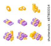 isometric euros bundles... | Shutterstock .eps vector #687803314