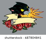 image of a black panther  with... | Shutterstock .eps vector #687804841
