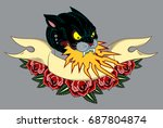 image of a black panther  with... | Shutterstock .eps vector #687804874