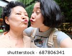 selfie senior woman with... | Shutterstock . vector #687806341