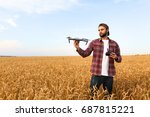 Bearded Man Hipster Shows Smal...