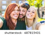 group of friends having fun... | Shutterstock . vector #687815431