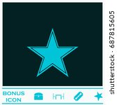 star icon flat. simple blue...