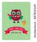 cute owl merry christmas... | Shutterstock .eps vector #687816169