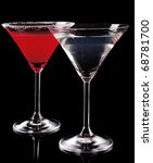 Martini Glass With Red Coctail...