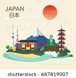 japanese famous landmarks and... | Shutterstock .eps vector #687819007