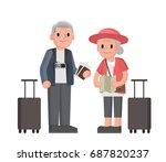 elderly couple of tourists.... | Shutterstock .eps vector #687820237