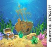 underwater landscape. the ocean ... | Shutterstock . vector #687823999