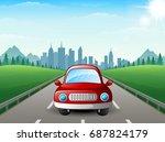red car cartoon on city... | Shutterstock . vector #687824179