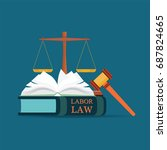 labor law books with a judges... | Shutterstock .eps vector #687824665